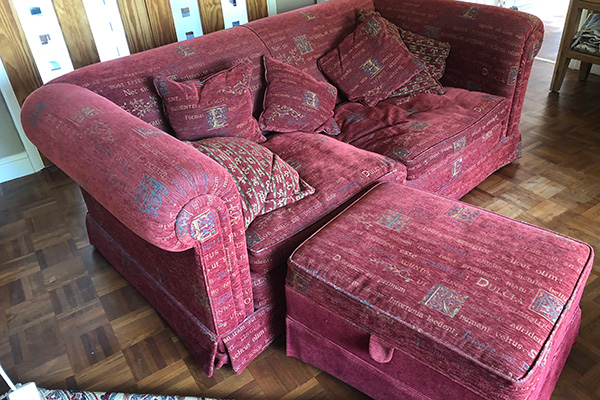 Red sofa after